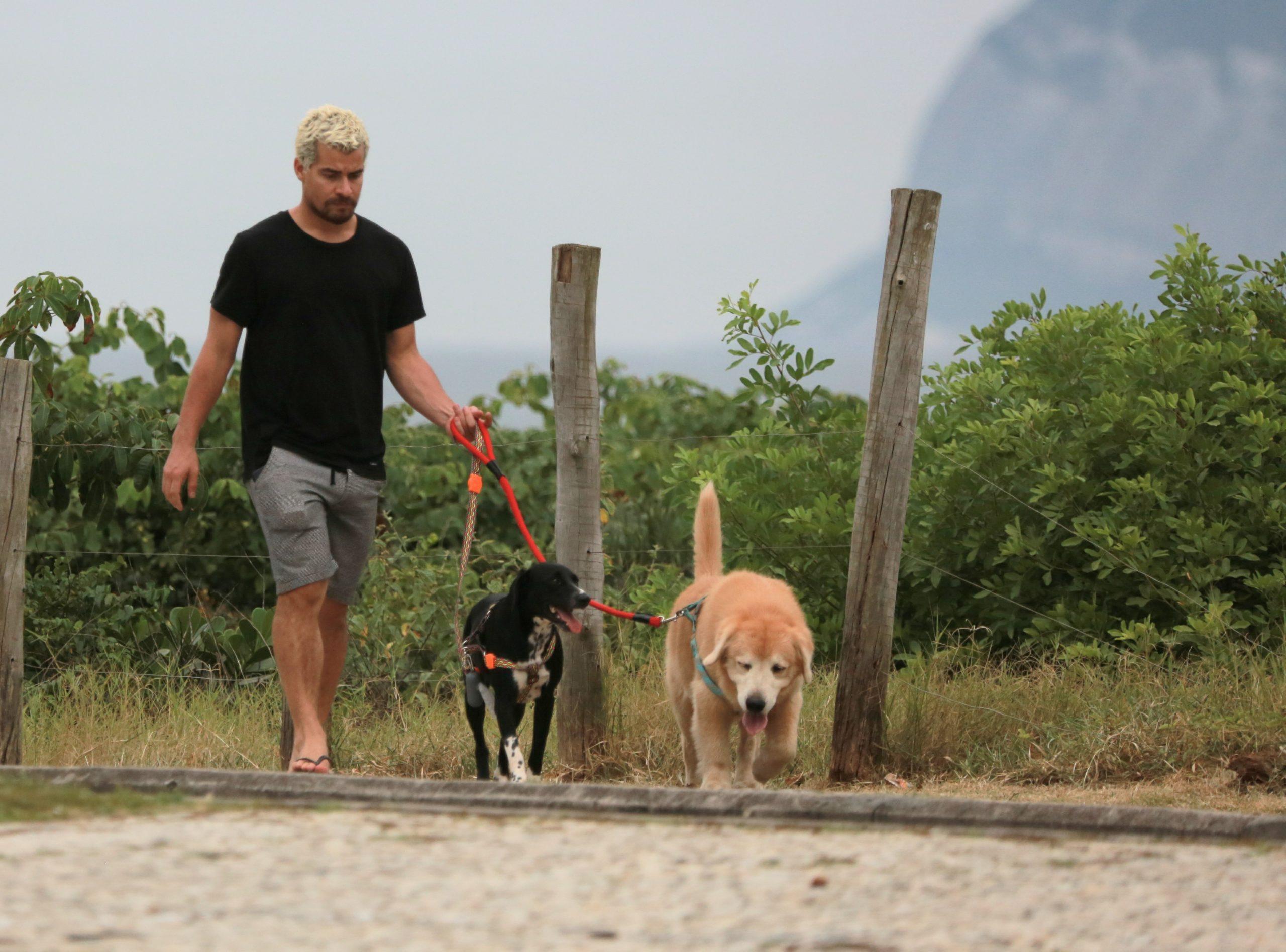 Liberado das gravações de Amor de Mãe, Thiago Martins passeia com seus cachorros