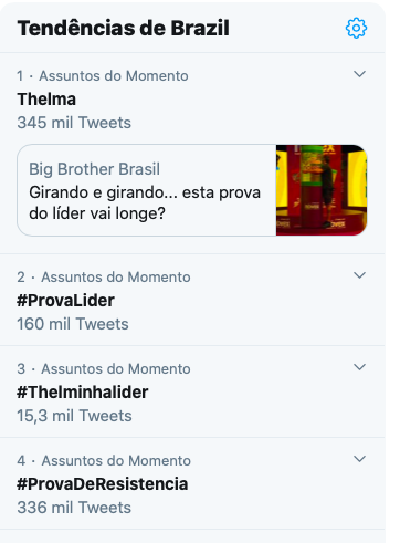 Prova do líder no BBB domina assuntos mais comentados do Twitter