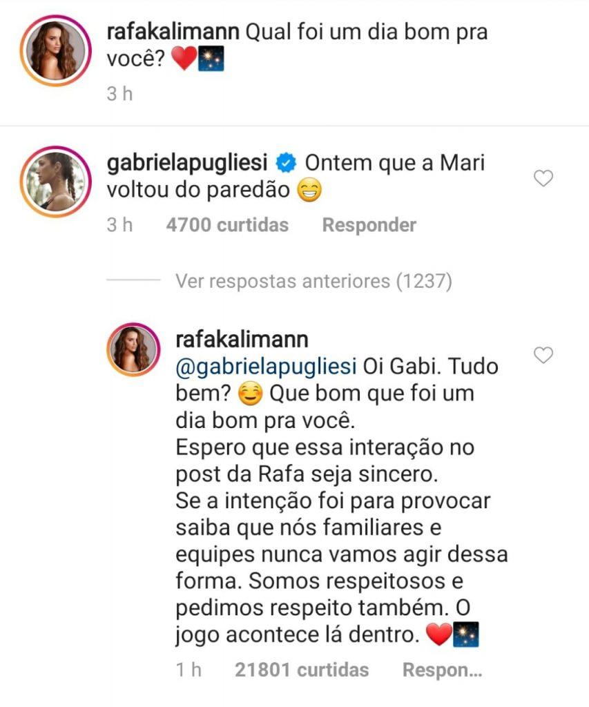 Gabi Pugliesi causa em perfil de Rafa Kalimann no Instagram