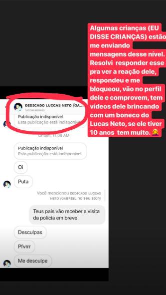Antônia Fontenelle denuncia suposto fã de Felipe e Luccas Neto