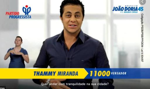 Thammy concorreu a uma vaga de vereador nas eleições municipais de São Paulo em 2016