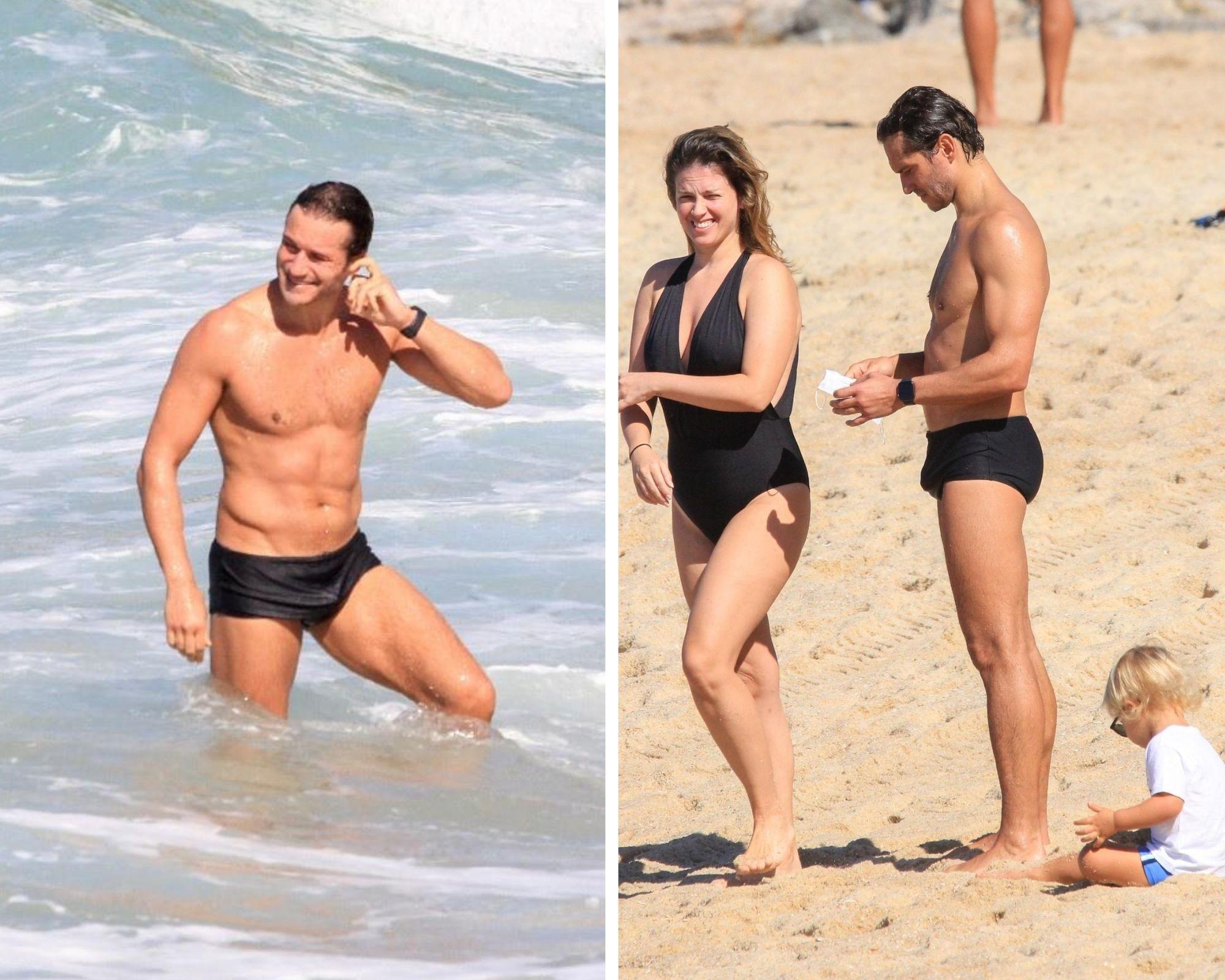 No ar em três novelas, Paulo Rocha é clicado em praia carioca