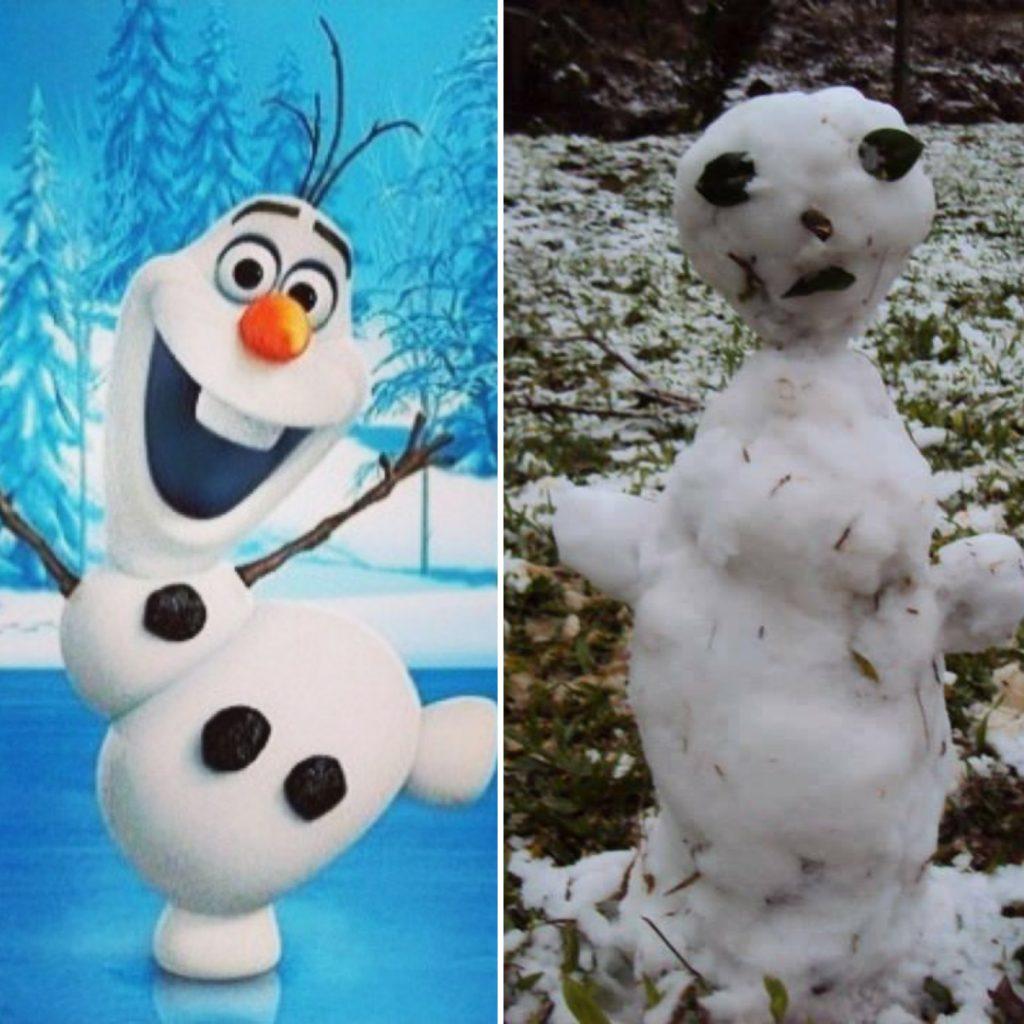 """Bonecos de neve do Brasil viram piada na web """"Olaf de Taubaté"""""""