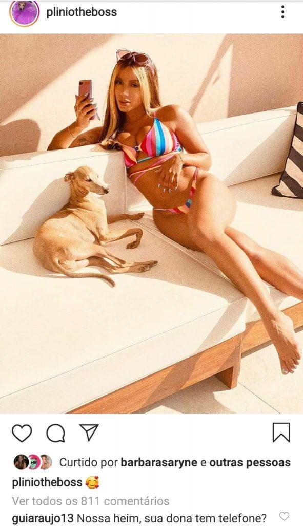 Anitta de biquini, sentada no sofá, com seu cachroro Plínio