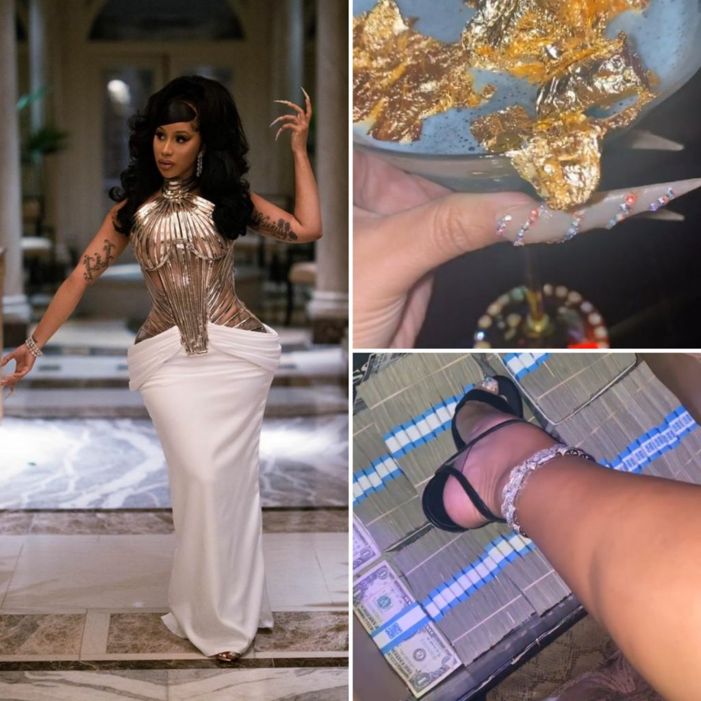 Chuva de dólares e drink com ouro: Veja as ostentações do aniversário de Cardi B