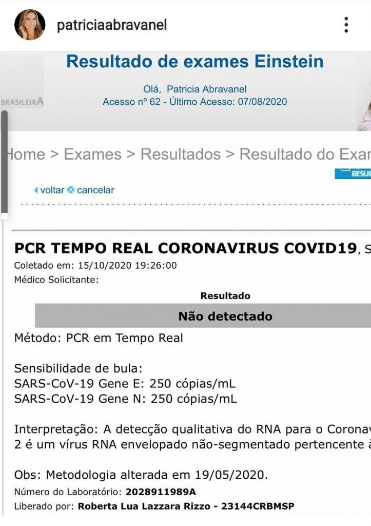 Patricia Abravanel revela resultado de exame, após marido testar positivo para Covid 19