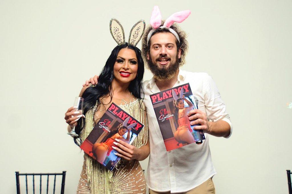 Ellen Santana e Cartolouco de orelhinhas de coelho