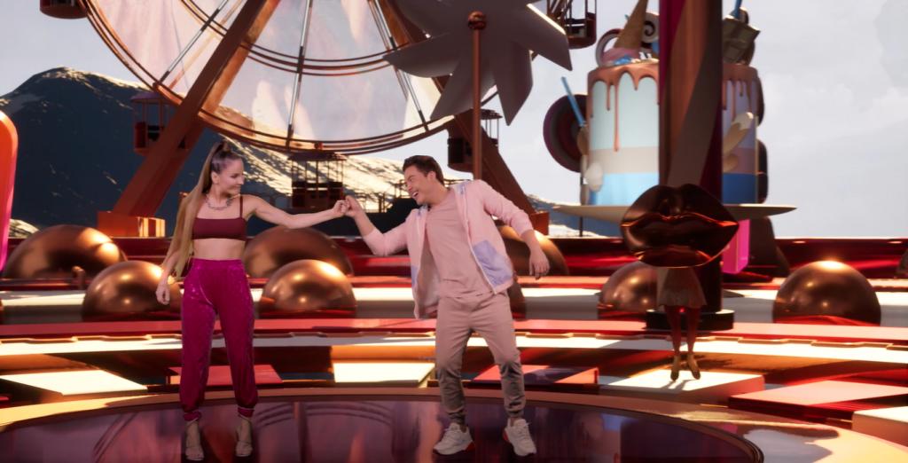 Claudia Leitte e Wesley em cenário virtual