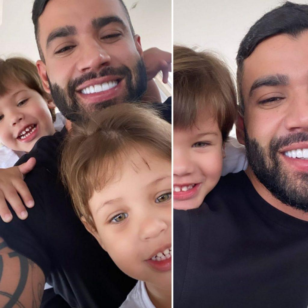 Gusttavo Lima posta com os filhos após separação de Andressa Suita