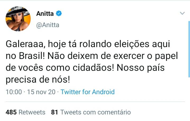 Logo no início deste domingo (15), enquanto os brasileiros se preparam para às votações municipais, Anitta manda recado a respeito do voto