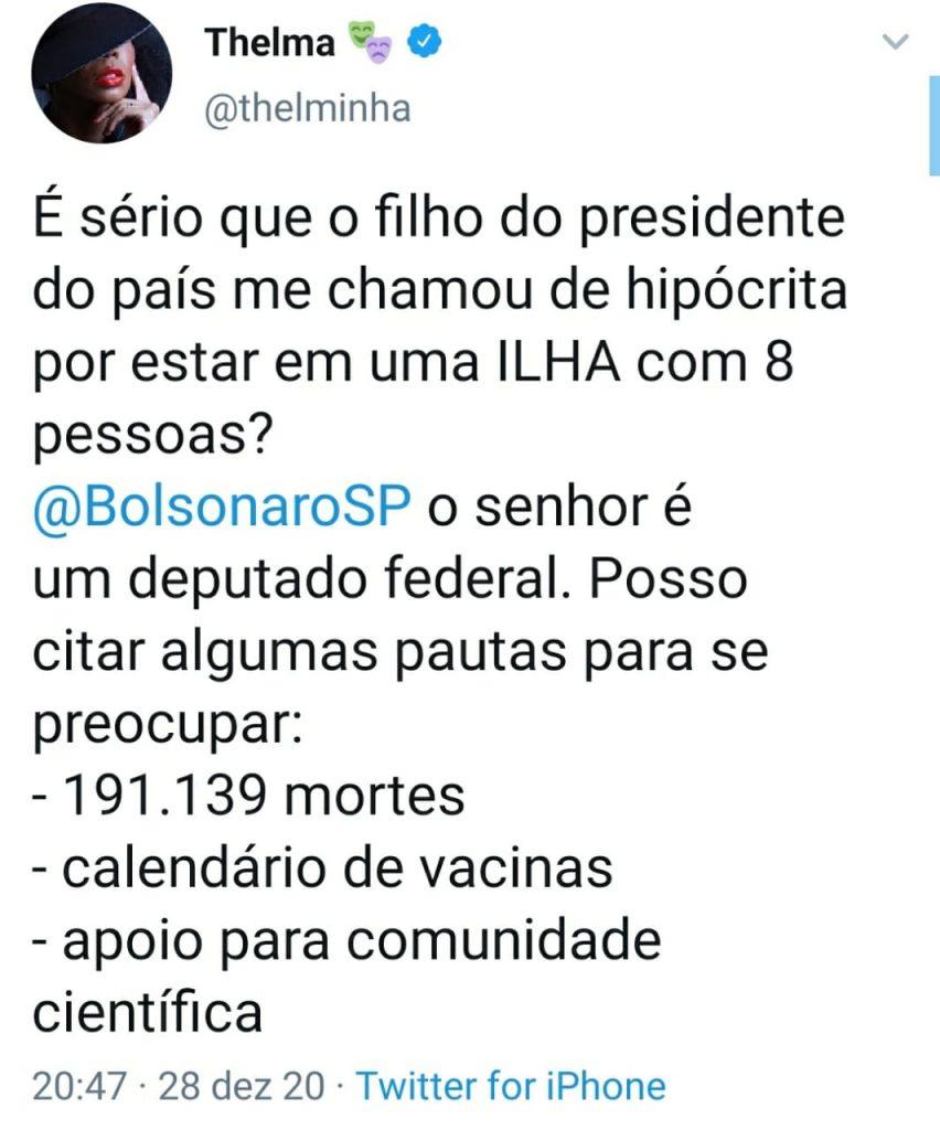 Thelminha é chamada de hipócrita por Eduardo Bolsonaro e rebate