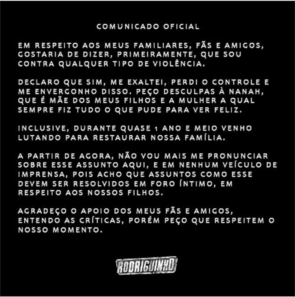 """Ex fala sobre agressão de Rodriguinho """"Agi no impulso"""""""