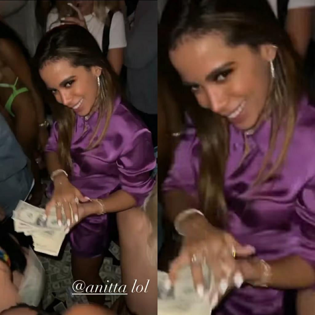 Anitta joga dinheiro para o ar em boate com rapper Tyga