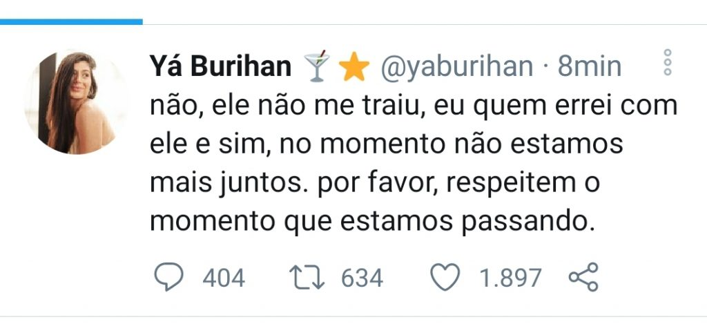 Lipe Ribeiro e Yá Burihan terminam noivado