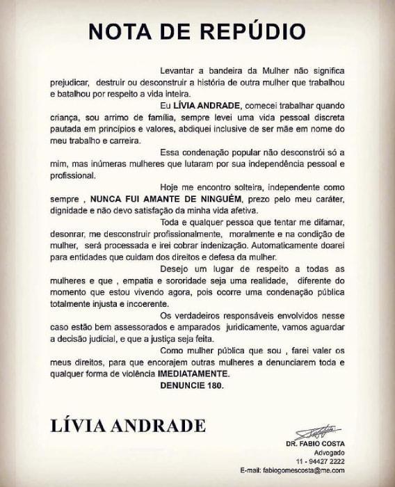 """Lívia Andrade divulga nota de repúdio """"Nunca fui amante"""""""