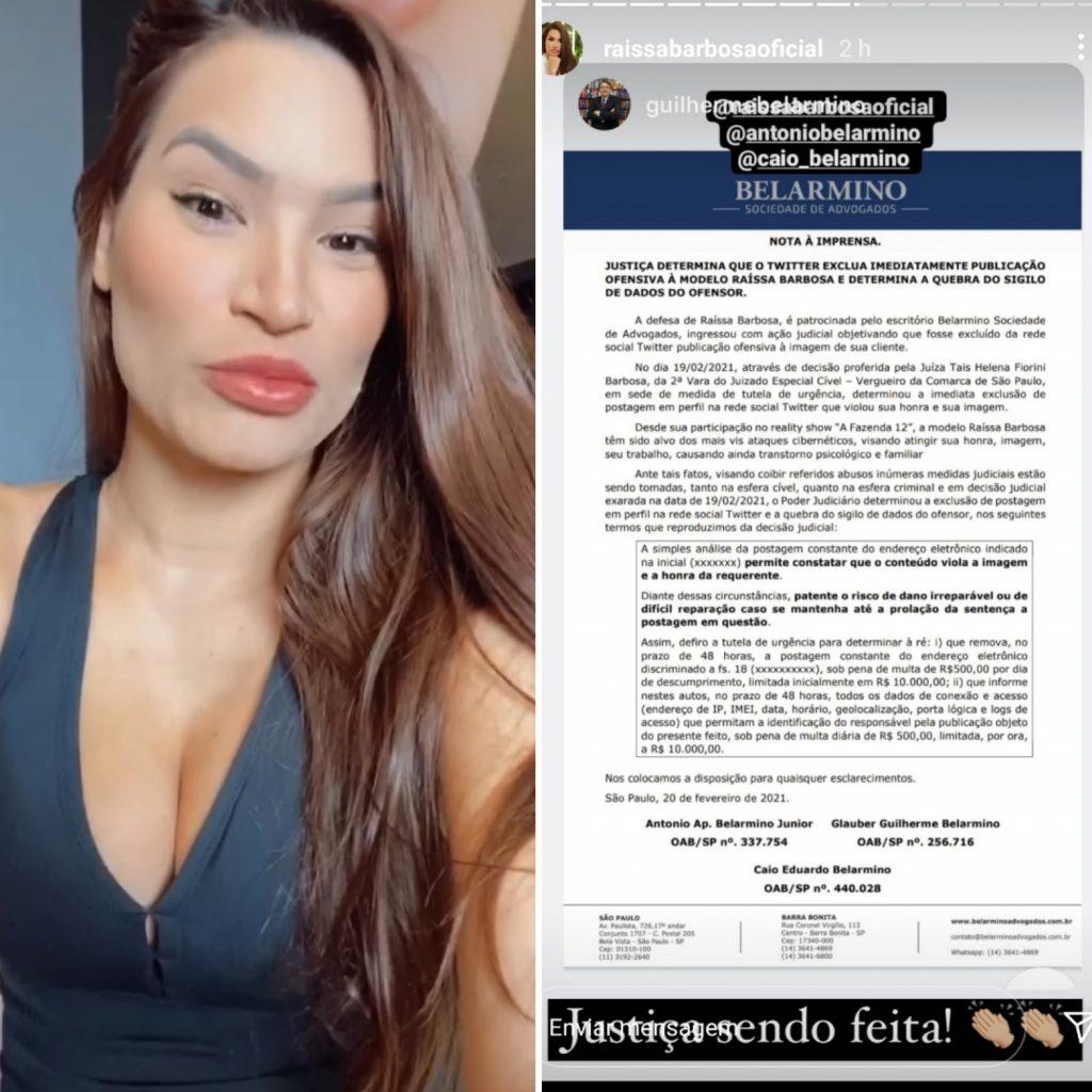 """Raissa Barbosa comemora vitória na justiça """"Nada passará"""""""