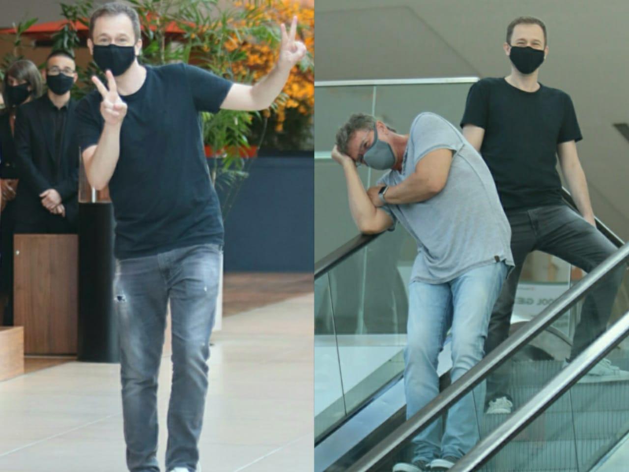 Rolê com o Big Boss! Paparazzo flagra Leifert e Boninho em shopping
