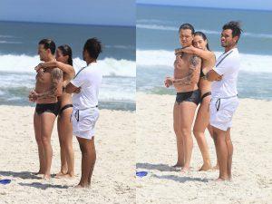 Gabi Brandt e Saulo Poncio curtem praia no maior love