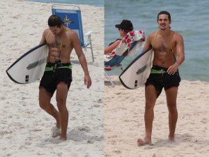 Nicolas Prattes exibe boa forma em tarde de surfe