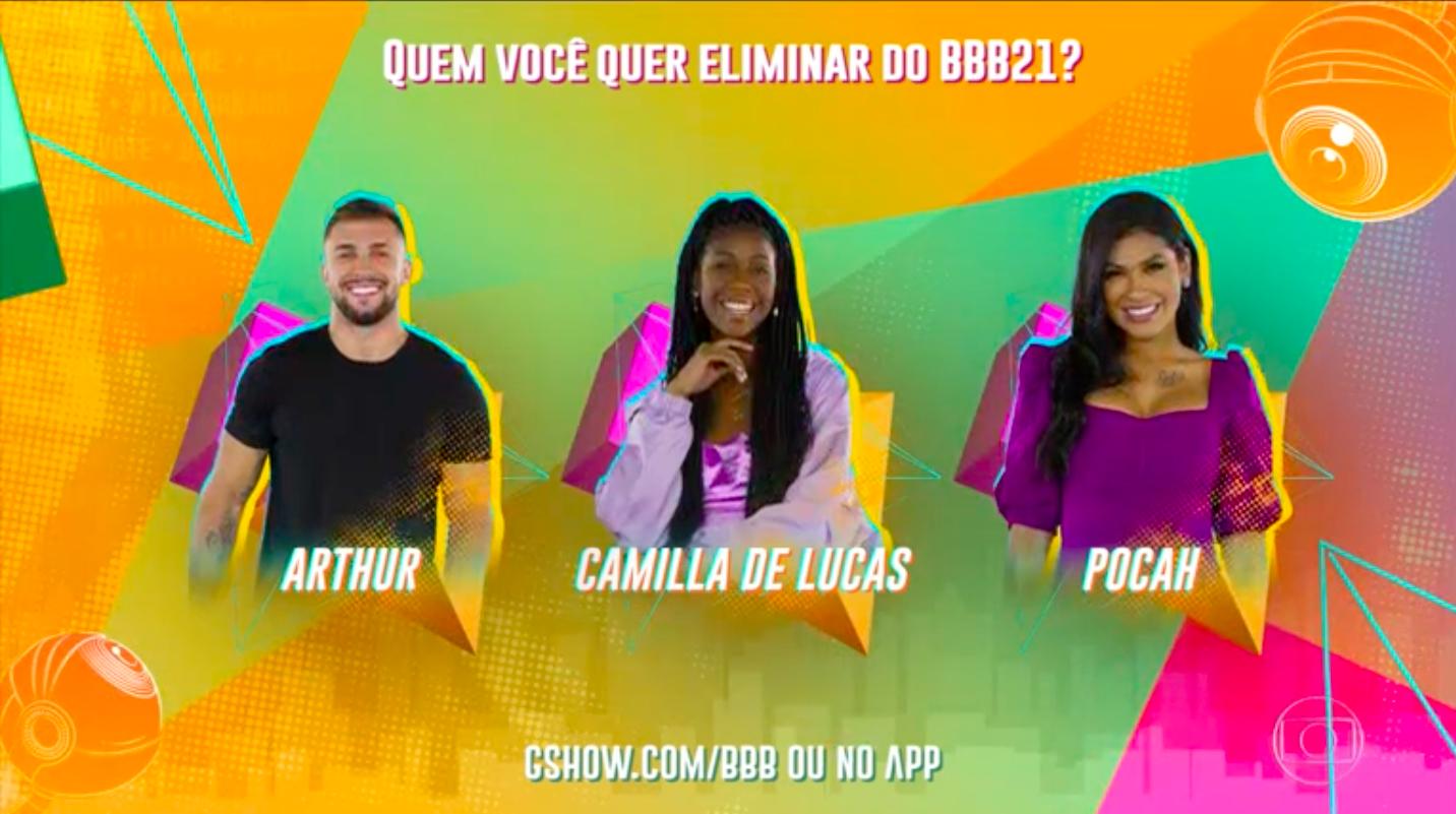 Arthur, Camilla e Pocah formam o paredão no BBB21