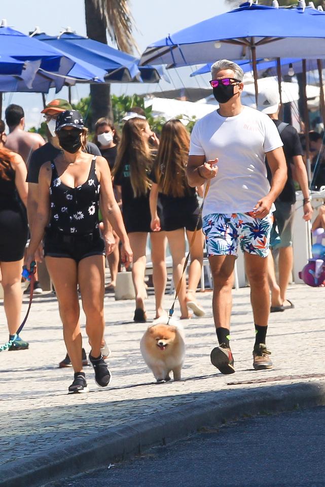 Flávia Alessandra e Otaviano Costa passeiam com seus pets no Rio de Janeiro