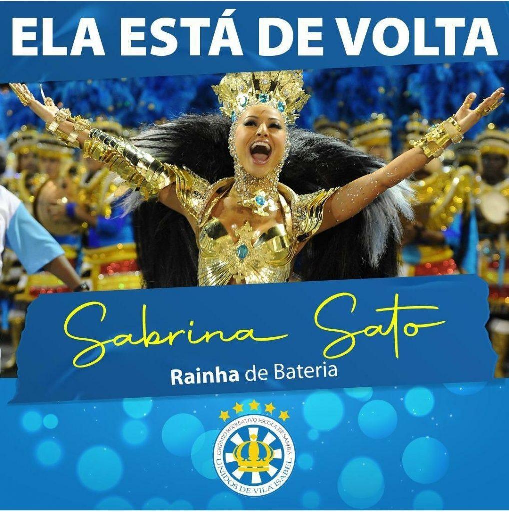 Sabrina Sato retorna ao posto de rainha de bateria da Vila Isabel