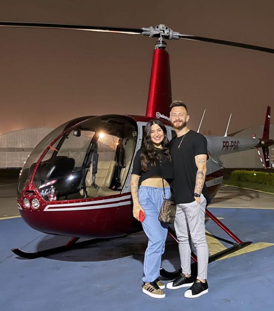 Fred surpreende Bianca Andrade com helicóptero em comemoração de um ano de namoro