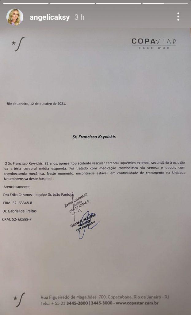 Pai de Angélica segue internado na UTI