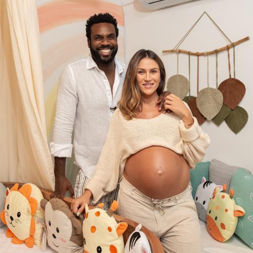 Rafael Zulu e Aline Becker mostram quarto do bebê